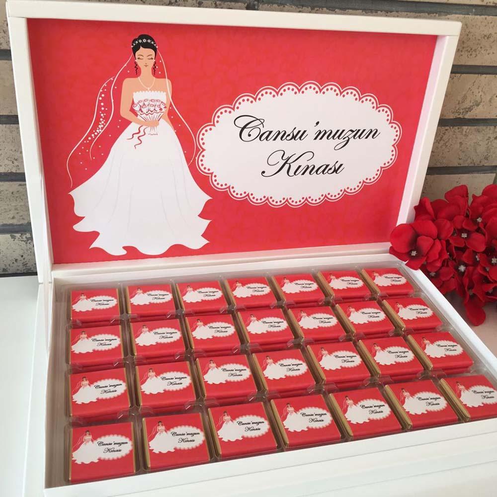 İsimli Kına Çikolatası-Kırmızı