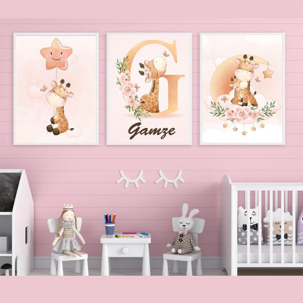 Bebek Odası Çerçeve Seti, Zürafalı Bebek Çerçevesi