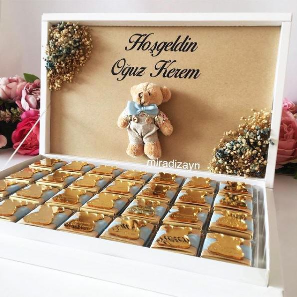 Bebek Çikolatası, Çiçekli Ayıcıklı Bebek Çikolatası, Bebek Hediyesi, Bebek Çikolatası pleksili