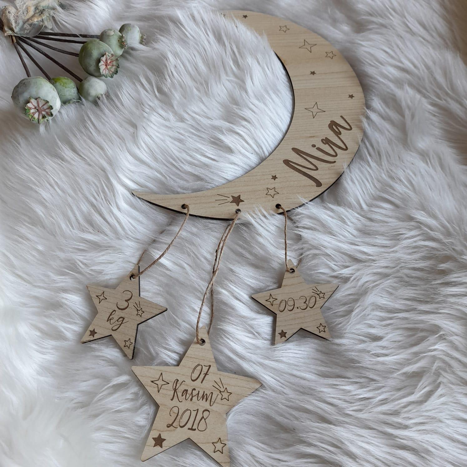 Ahşap Bebek Doğum Panosu-Ay Yıldız Oda Süsü