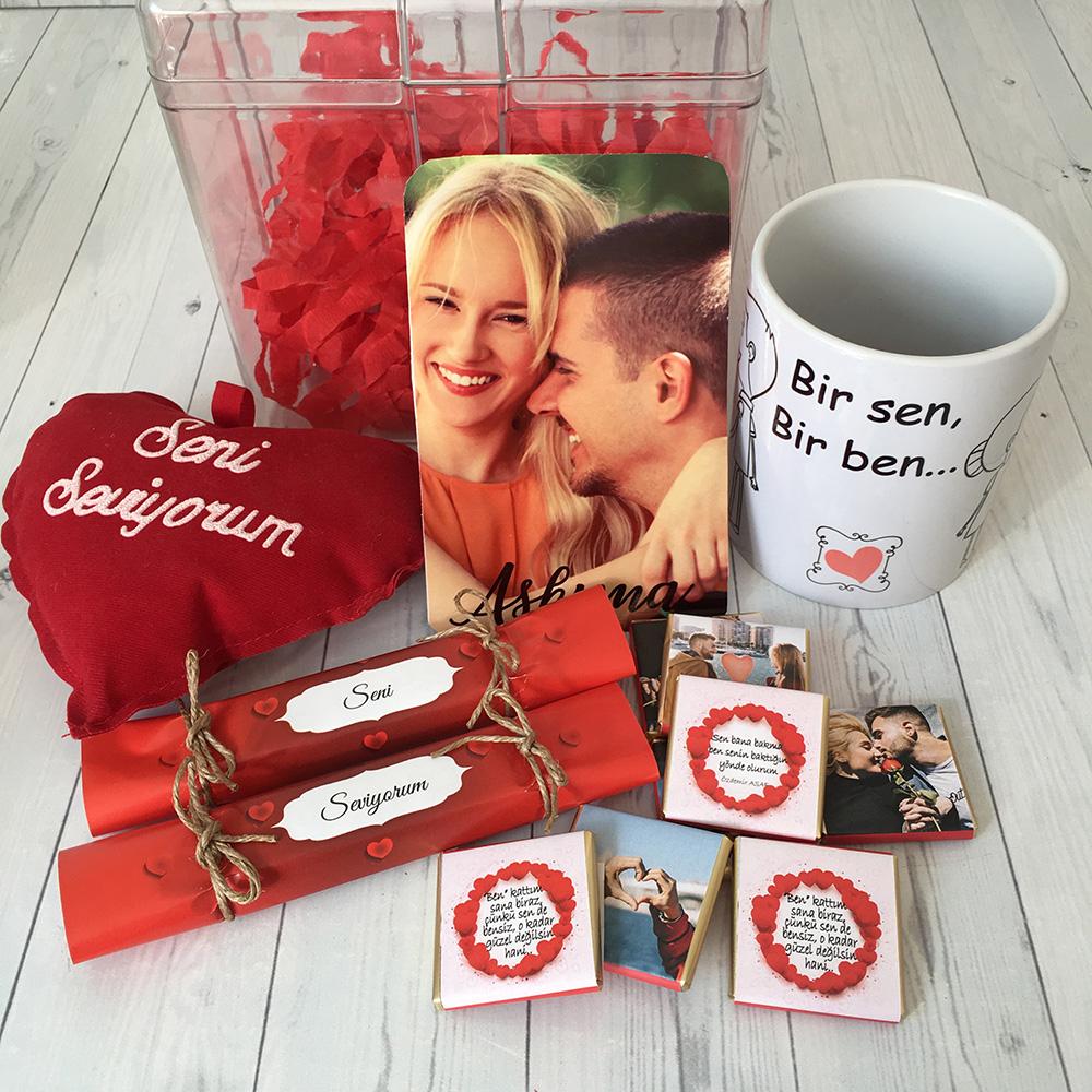 Sevgiliye Hediye Şeffaf Lüks Kutulu Hediye Paketi