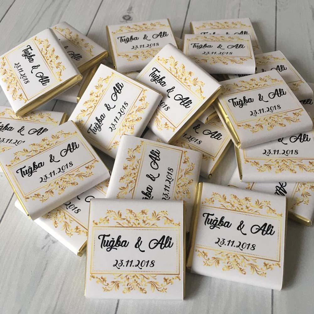 İsimli Söz Nişan Çikolatası - Gold Beyaz Dökme