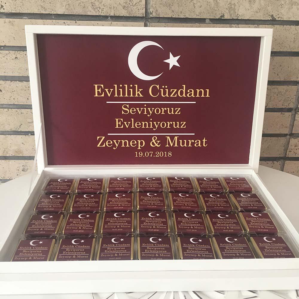 İsimli Nikah Cüzdanı Çikolata - Nikah Çikolatası