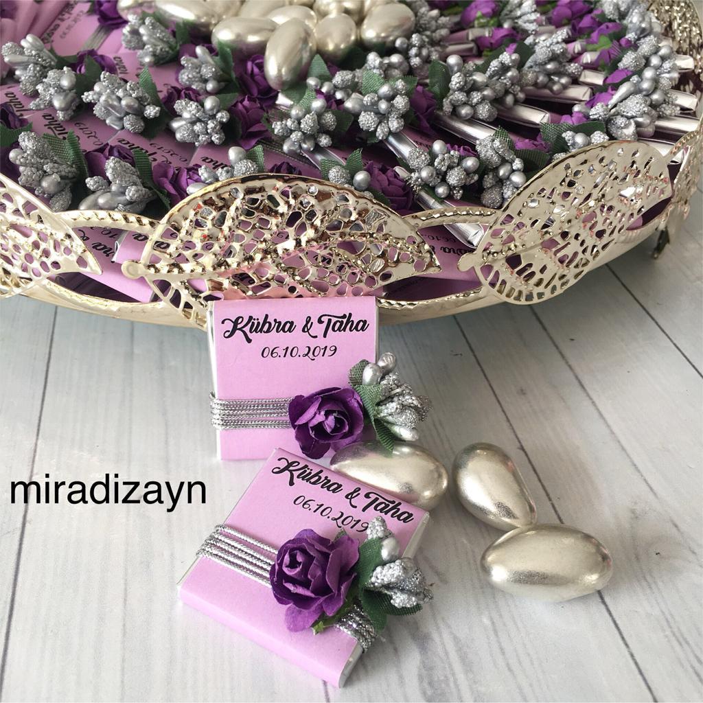Tepsili gümüş kız isteme çiçekli
