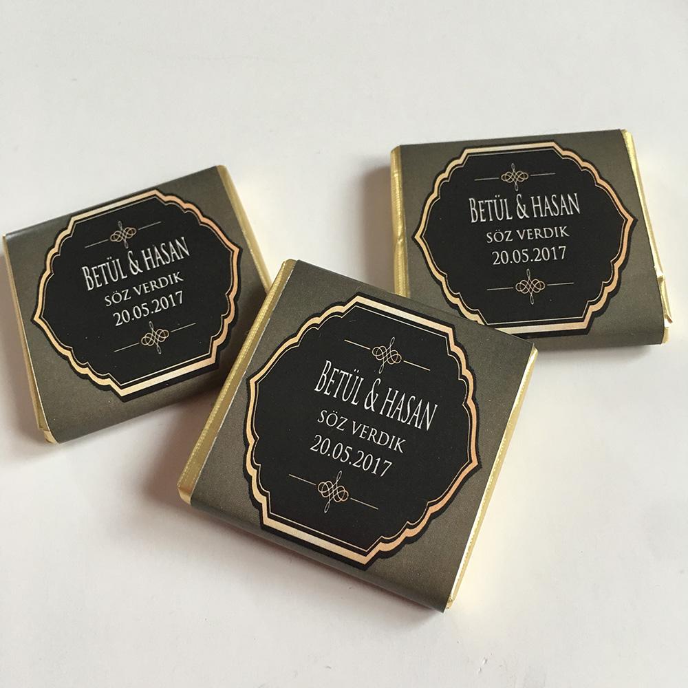 Söz-Nişan Çikolatası- gold- siyah