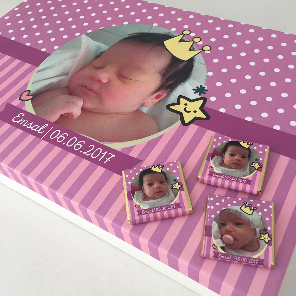 Kişiye Özel Bebek Çikolatası-Kız Bebek-Taçlı