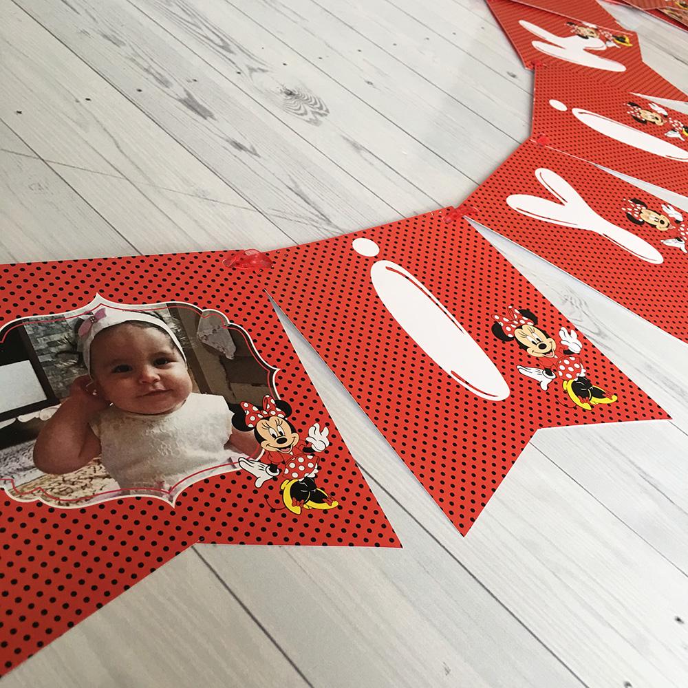 İsim Bayrak Afişi Fotoğraflı - Minnie