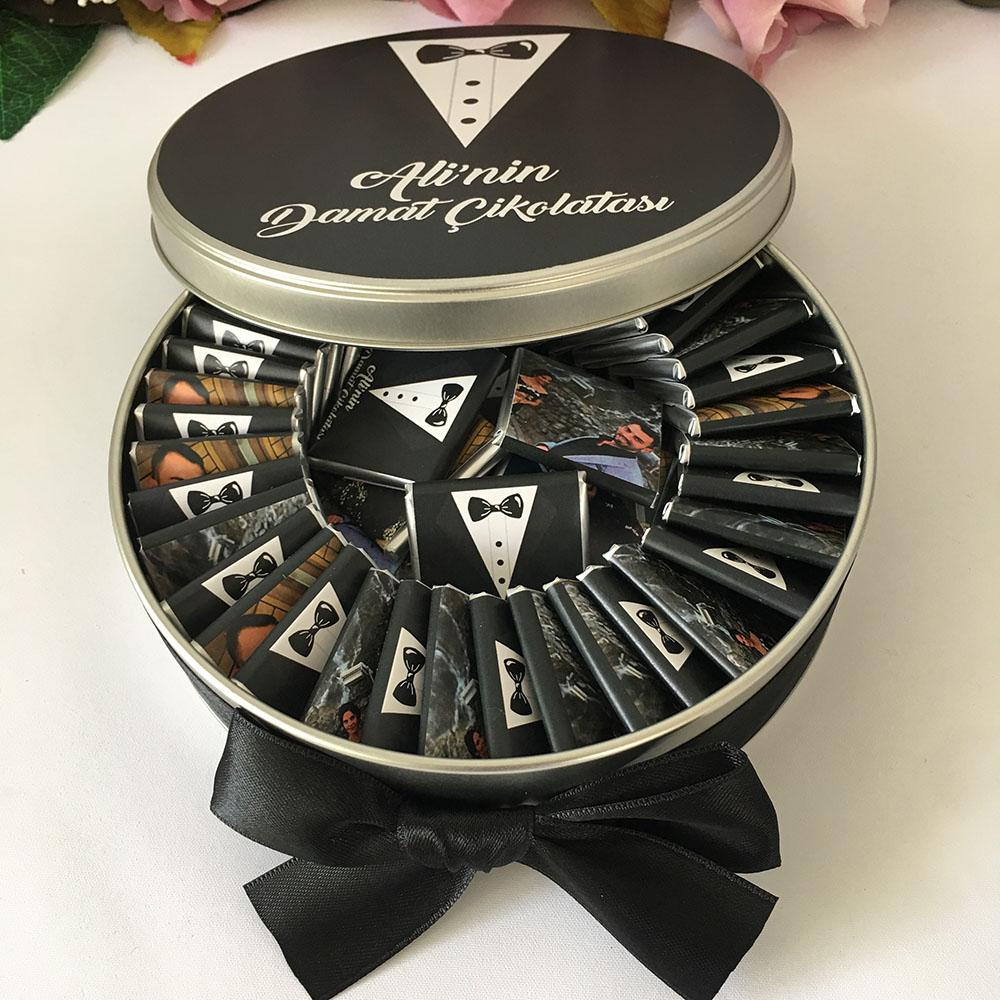 Metal Kutu İçinde Fotoğraflı Damat Çikolatası