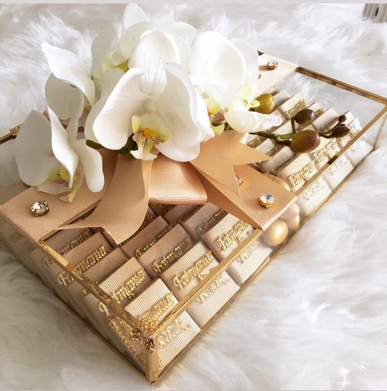 Kız isteme çikolatası orkideli
