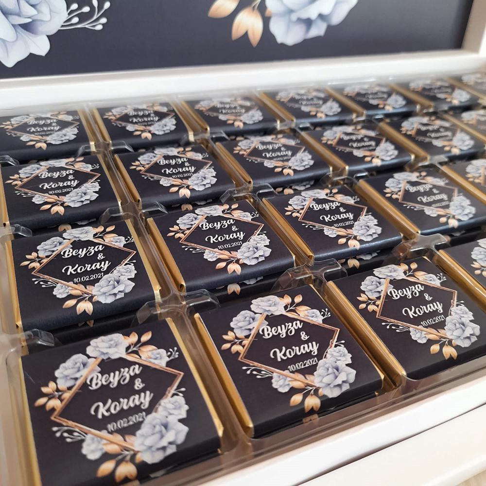 Kişiye Özel Çiçekli Söz Nişan Çikolatası