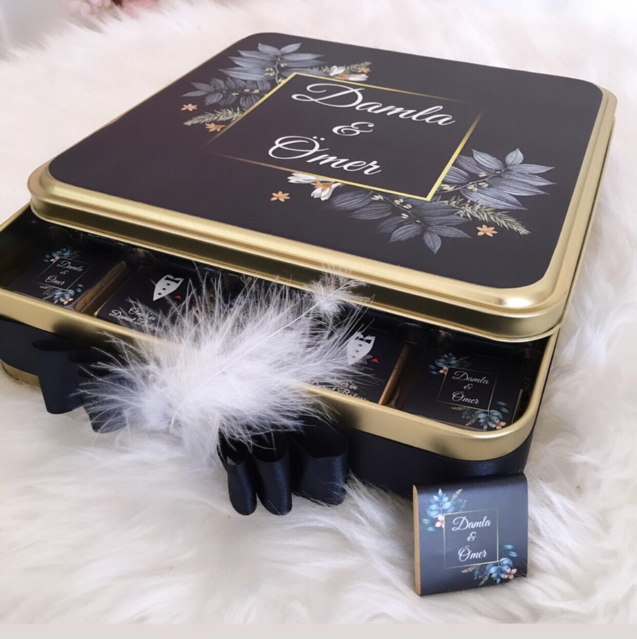 Damat Bohça çikolatası altın metal kutulu